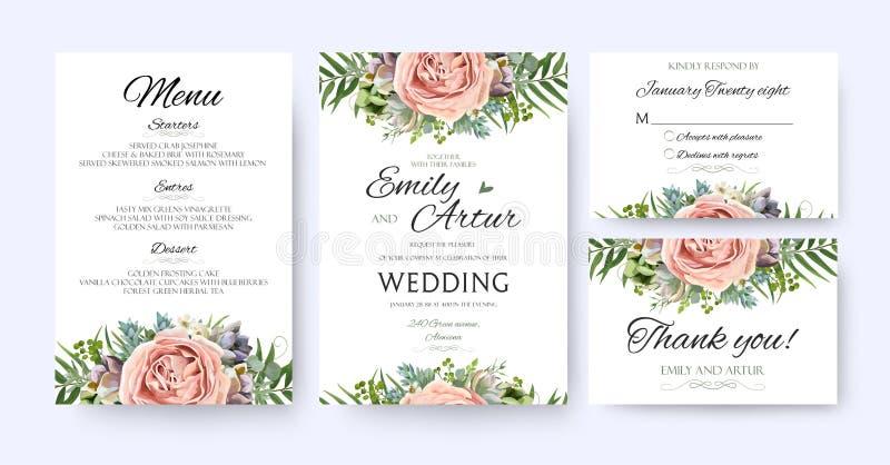 婚礼邀请,花卉邀请卡片设计:庭院淡紫色p 向量例证