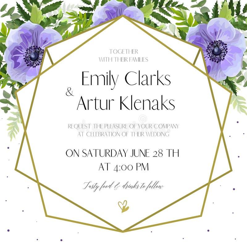 婚礼邀请,花卉邀请卡片设计:紫外lave 皇族释放例证