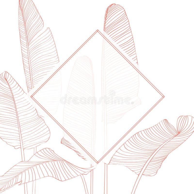 婚礼邀请,花卉邀请感谢您,现代卡片设计用橙色热带棕榈香蕉留下装饰的rsvp 皇族释放例证