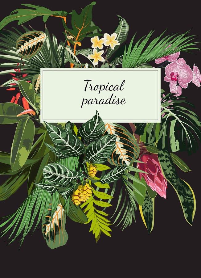 婚礼邀请,花卉邀请感谢您,rsvp现代卡片设计热带花束 皇族释放例证
