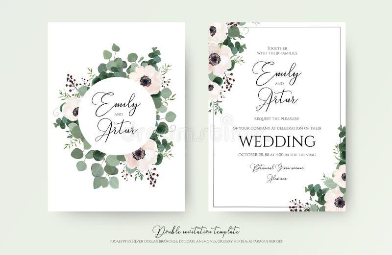 婚礼邀请,花卉邀请现代卡片设计:浅粉红色 皇族释放例证