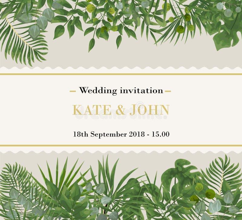 婚礼邀请, rsvp现代卡片设计 自然的传染媒介,马胃蝇蛆 免版税库存照片