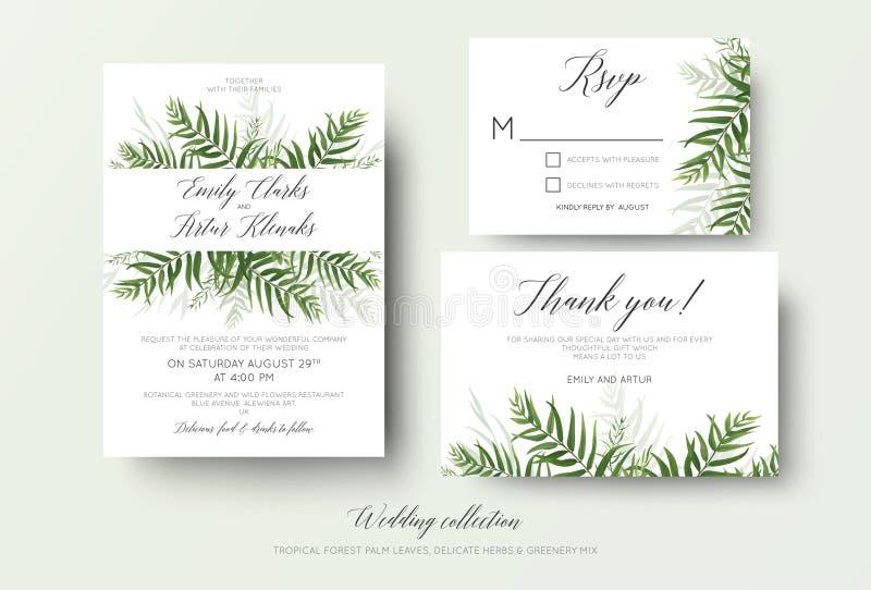 婚礼邀请, rsvp,谢谢拟订与gre的花卉设计 皇族释放例证