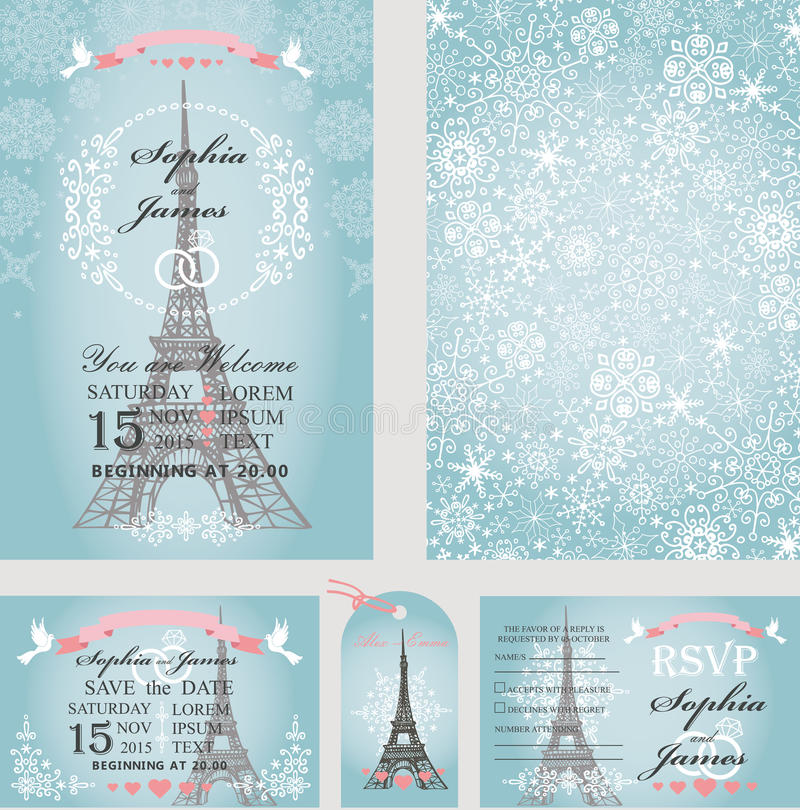 婚礼邀请 埃菲尔山塔,雪花 巴黎 向量例证