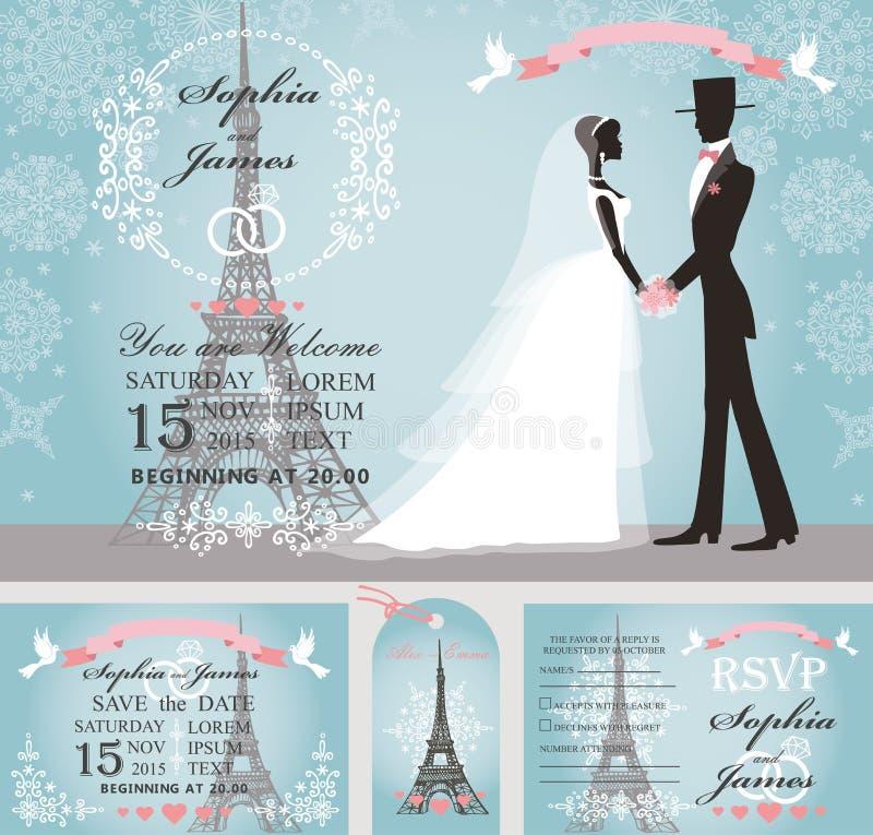 婚礼邀请 新娘,新郎,雪,巴黎冬天 库存例证