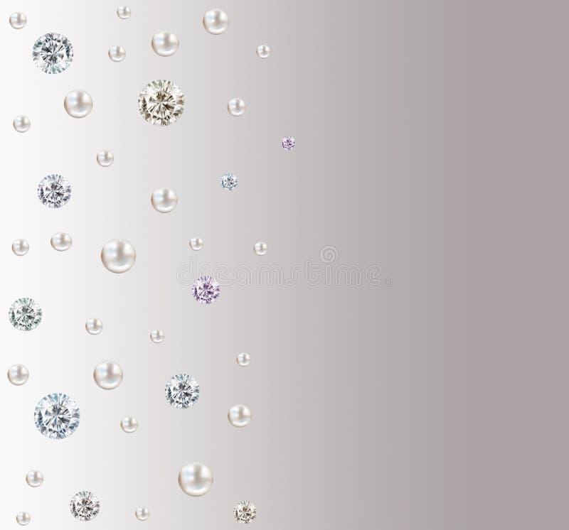 婚礼金刚石和珍珠照顾在灰色和whi的正方形 向量例证