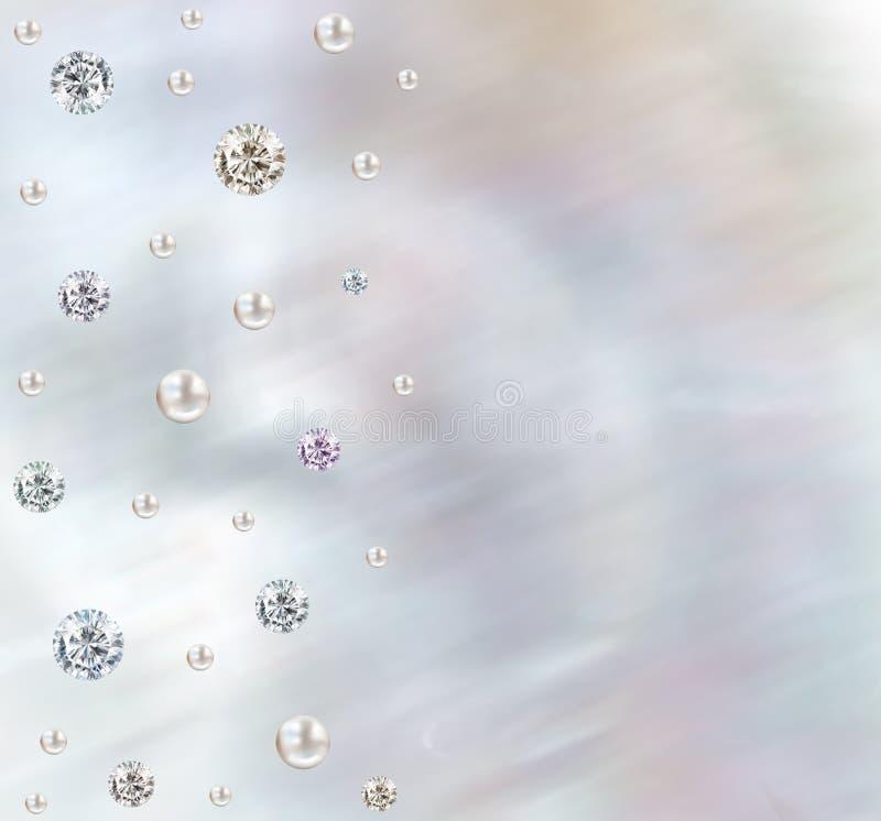 婚礼金刚石和珍珠真珠色的丁香和桃红色backgro 向量例证