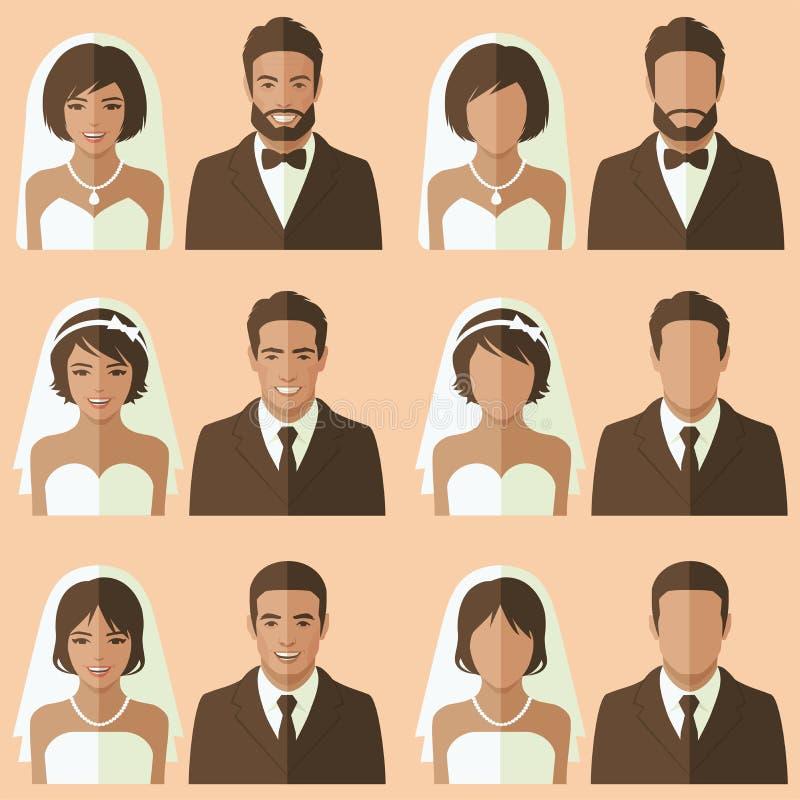 婚礼面孔具体化, 向量例证