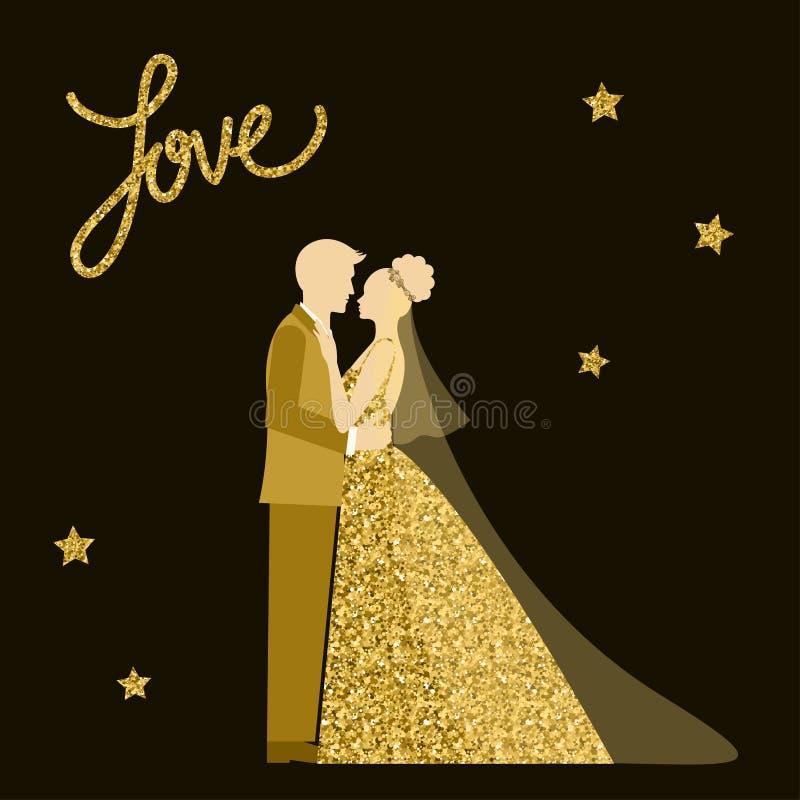 婚礼题材 新娘仪式教会新郎婚礼 金黄闪闪发光闪烁纹理 向量例证
