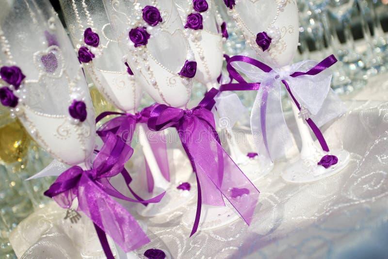 婚礼香槟玻璃 免版税库存图片