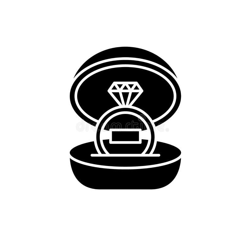 婚礼黑色象,在被隔绝的背景的传染媒介标志 婚礼概念标志,例证 向量例证