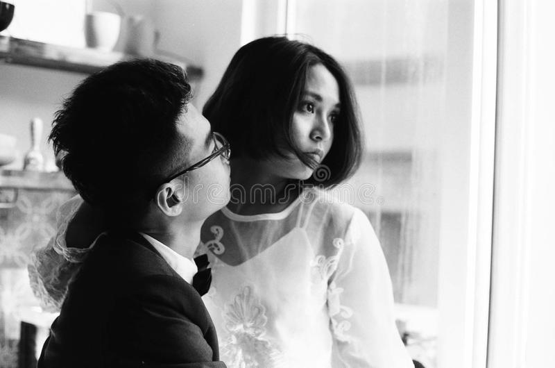 婚礼,夫妇,爱,影片, 135mm, bw 库存照片