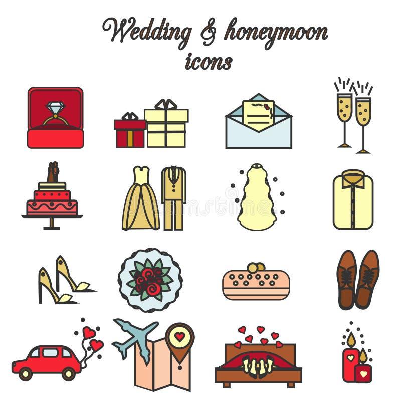 婚礼,婚姻,订婚,蜜月被设置的传染媒介象 向量例证