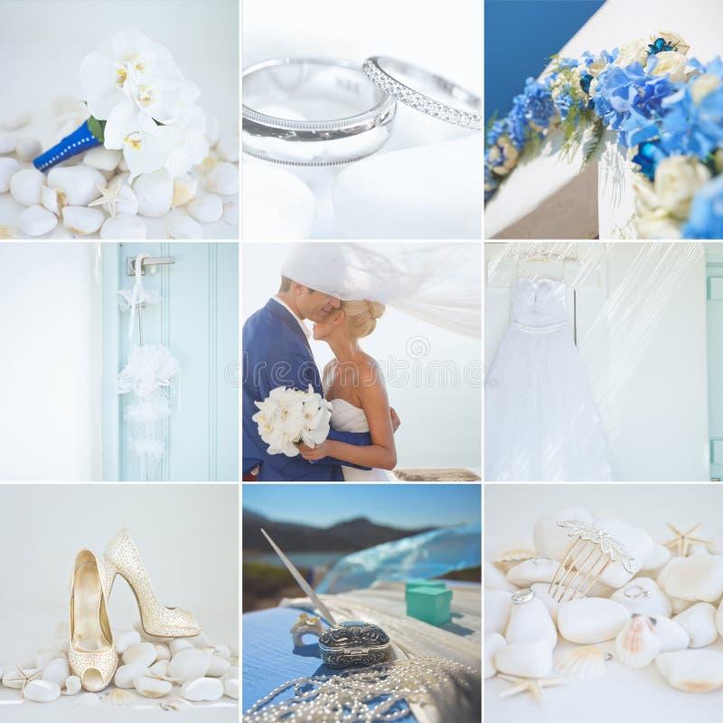 婚礼细节拼贴画  免版税库存图片