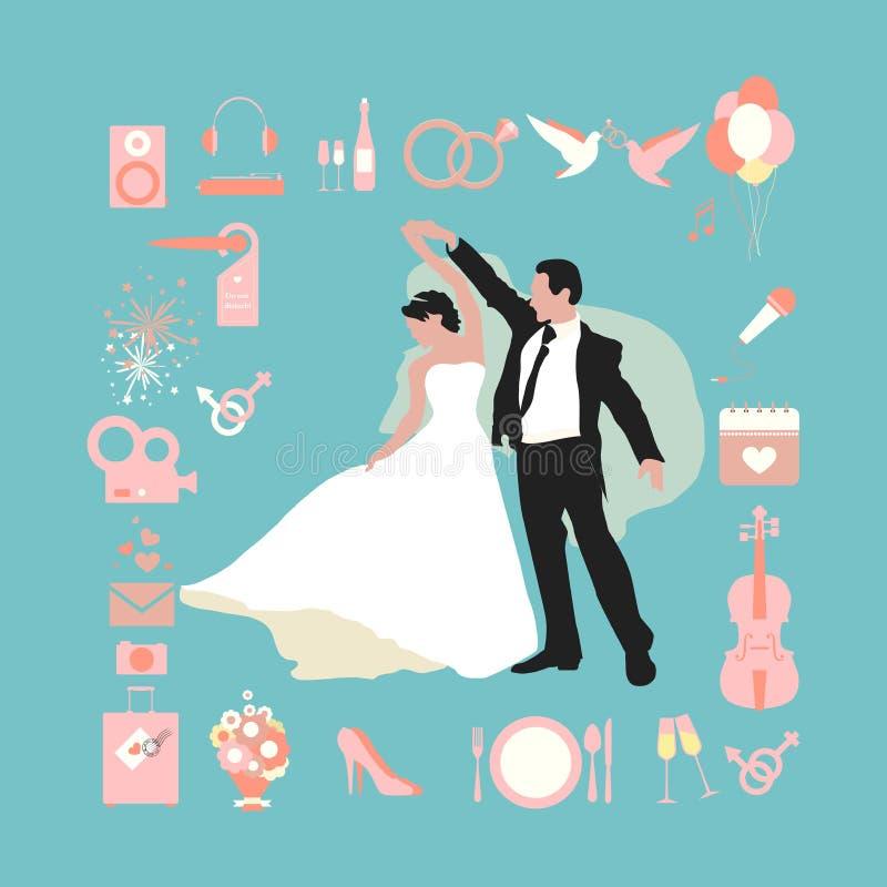 婚礼infographics 向量例证