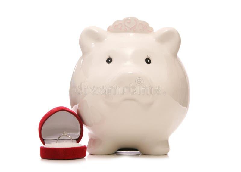 婚礼piggybank的挽救金钱 库存图片