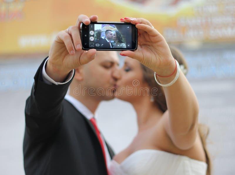 婚礼selfie 免版税图库摄影