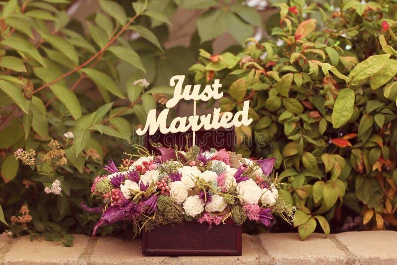 结婚签到花花束 免版税图库摄影