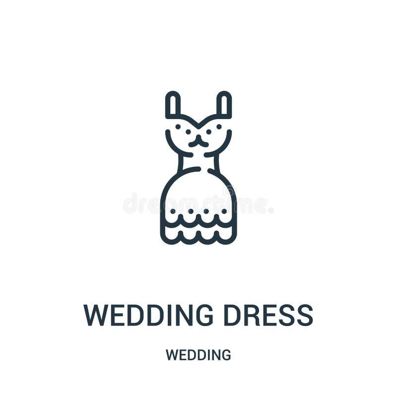 婚纱从婚姻的收藏的象传染媒介 稀薄的线婚纱概述象传染媒介例证 线性标志为使用 库存例证