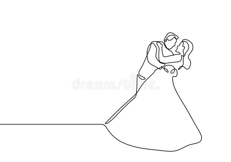 婚纱实线夫妇图画在爱的 向量例证
