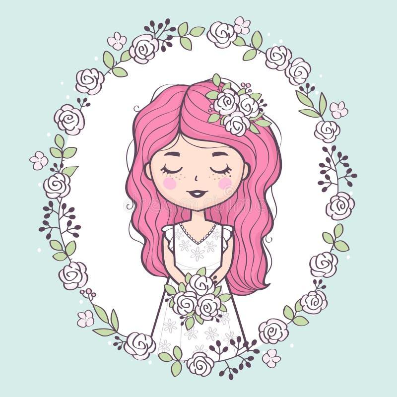 婚纱藏品花束的美丽的新娘 皇族释放例证