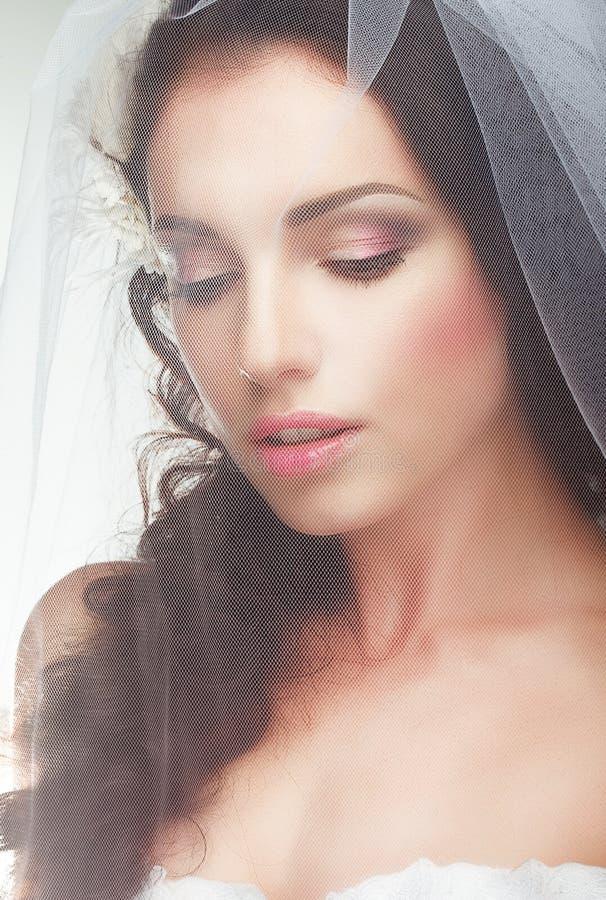 婚姻。订婚。透明薄纱的感伤的可爱的新娘 免版税库存图片