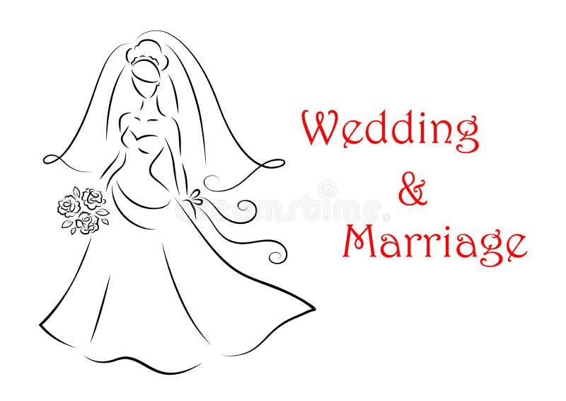 婚姻和婚礼的新娘剪影 库存例证