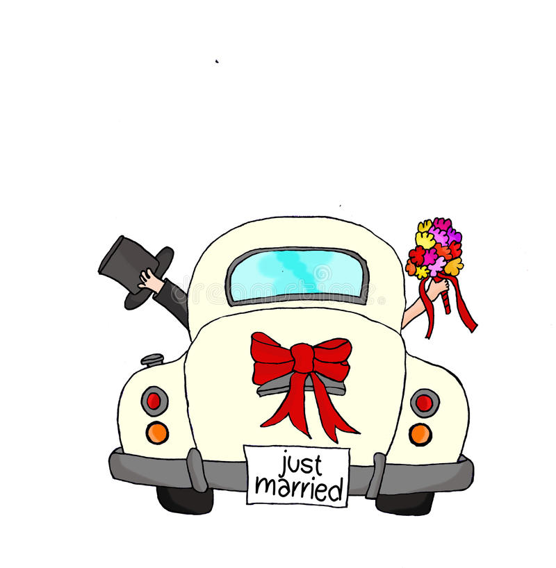 结婚-在桃红色汽车的夫妇 皇族释放例证