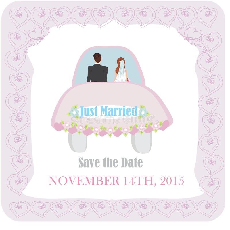 结婚-婚礼汽车 向量例证