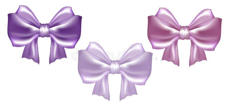 婚姻汇集的套三把柔和的淡色彩缎弓 向量例证