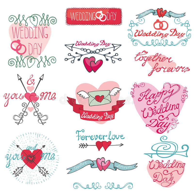婚姻的乱画装饰集合 浪漫标签,卡片,贴纸 库存例证