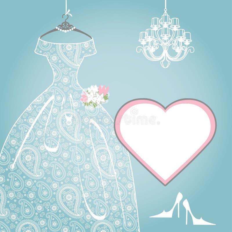 婚姻的新娘礼服 佩兹利鞋带,枝形吊灯,标签 皇族释放例证