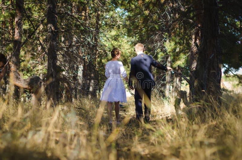 婚姻的步行在森林里 库存照片