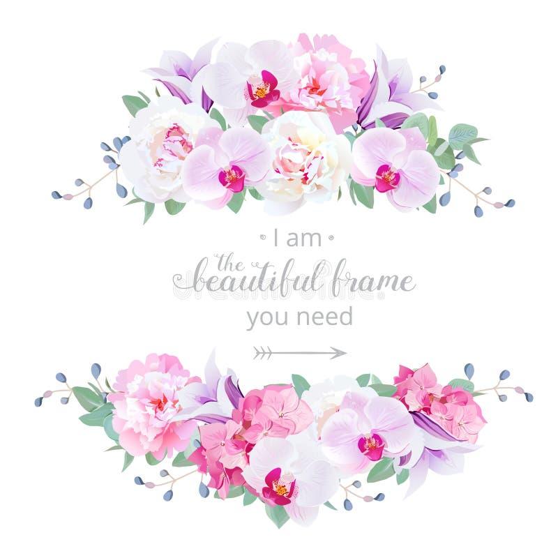 婚姻的花卉传染媒介设计水平的卡片 库存例证