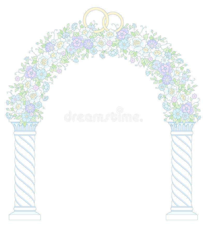 婚姻的花卉拱道 皇族释放例证