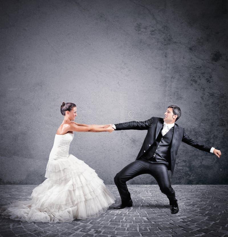 从婚姻的逃命 库存图片