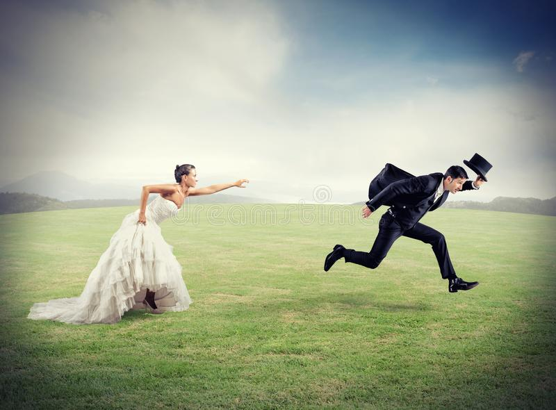 从婚姻的逃命 免版税库存照片