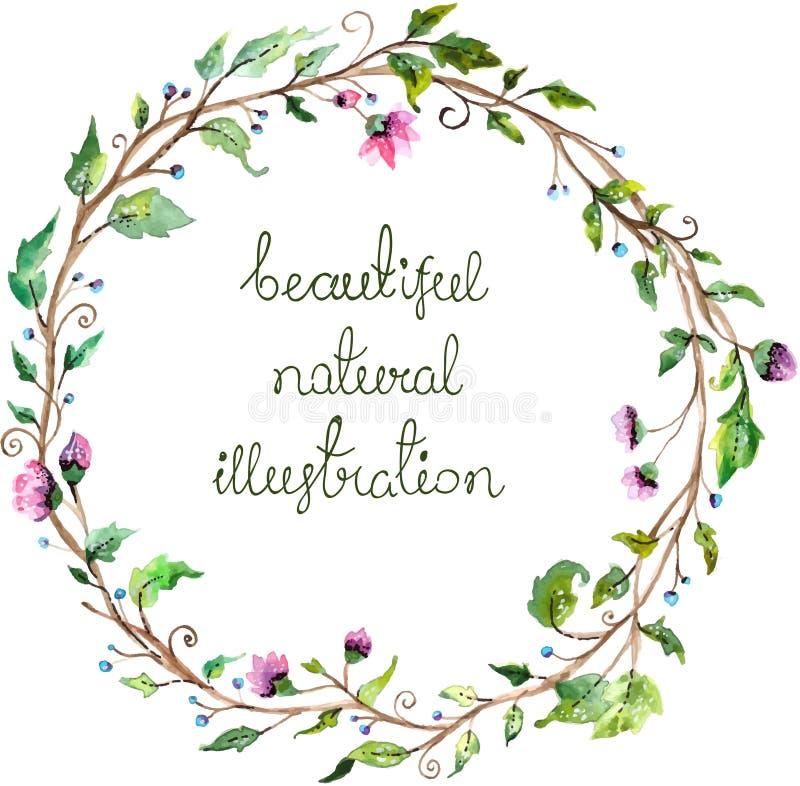 婚姻的邀请设计的水彩花卉框架 向量例证