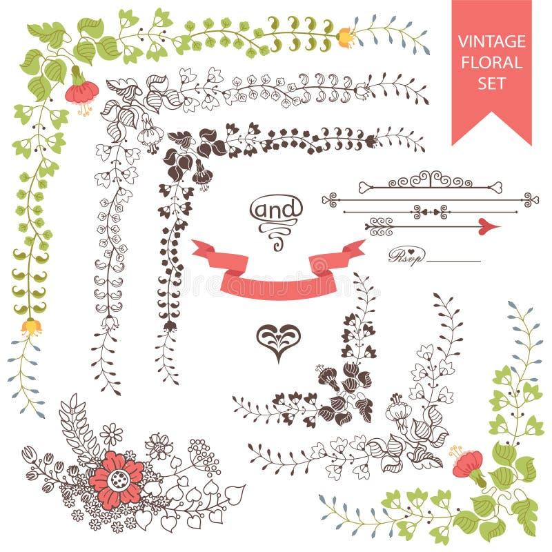 婚姻的集合减速火箭的花卉项目 使用向量的设计好的零件stiker模板您 向量例证