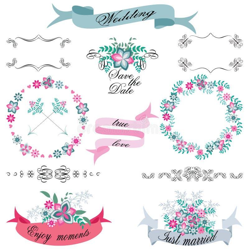 婚姻箭头、百花香、花圈、丝带和标签在白色背景的葡萄酒套减速火箭的花 库存照片