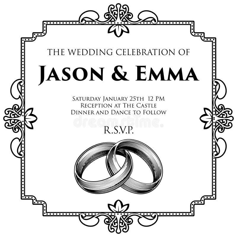 婚姻邀请模板的婚戒带 库存例证