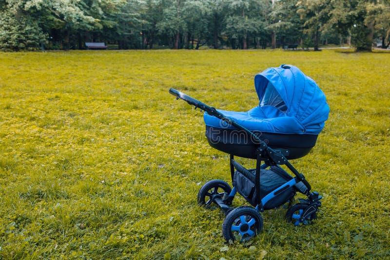 婴儿推车在公园漫步 免版税图库摄影