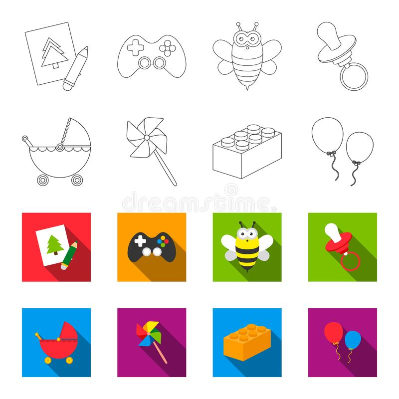 婴儿推车,风车, lego,气球 玩具设置了在概述,平的样式传染媒介标志股票例证网的汇集象 库存例证
