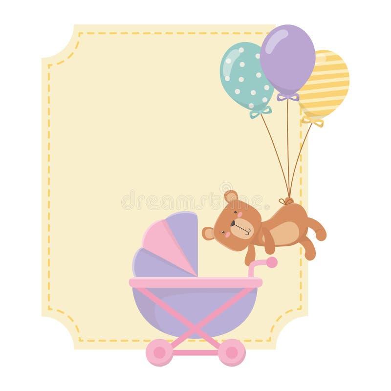 婴儿车和玩具熊设计 皇族释放例证