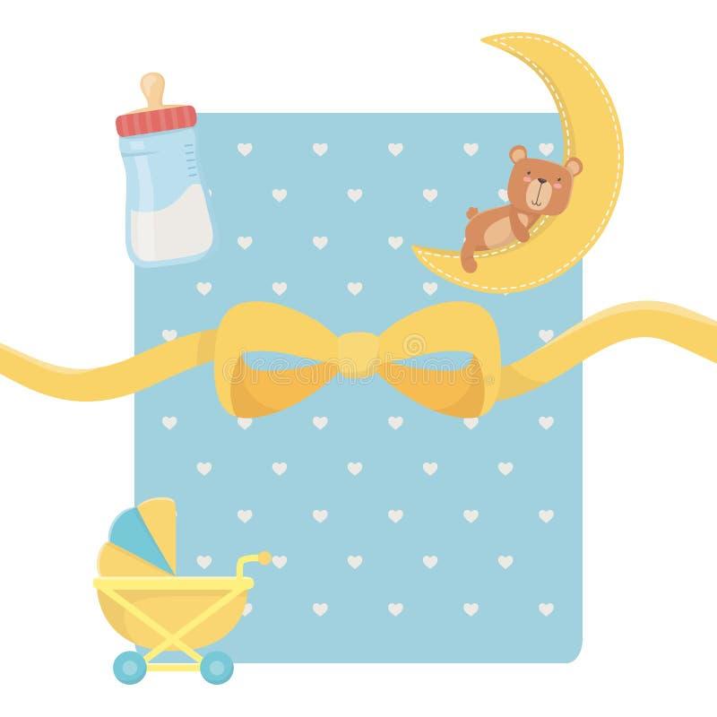 婴儿车和玩具熊设计 向量例证