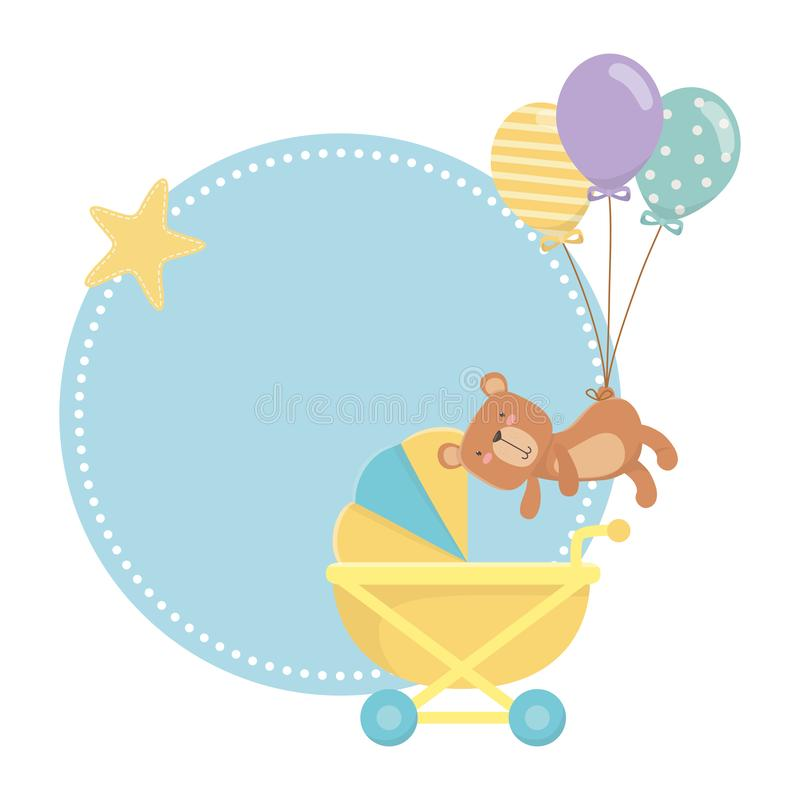 婴儿车和玩具熊设计 库存例证