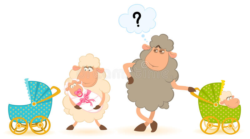 Download 婴儿车杂文绵羊 向量例证. 插画 包括有 儿童车, 图象, 靠山, 哺乳动物, 分娩, 敌意, 艺术, 加点 - 15693501