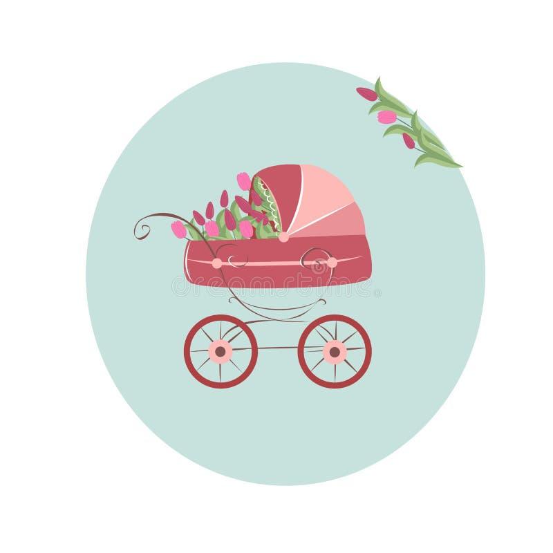 婴儿车,在蓝色背景的桃红色郁金香 皇族释放例证