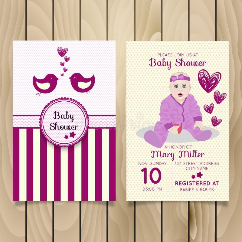 婴儿送礼会与手字法、逗人喜爱的云彩和伞的邀请模板 库存例证