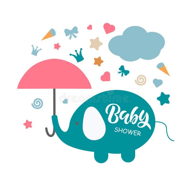 婴儿送礼会与手字法的邀请模板 库存例证